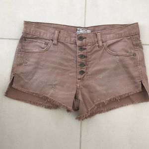 Free People Distressed Button Fly Cotton Shorts